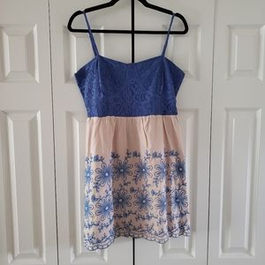 Flying Tomato Blue & Beige Embroidered Summer Dres